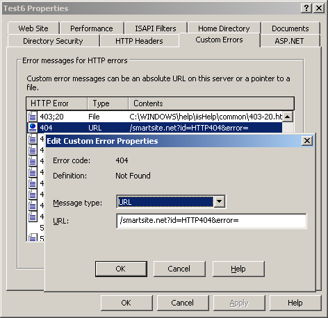 How to configure friendly error pages in IIS 6 (Windows 2003)